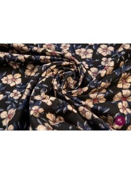 Brocart cu flori crem și frunze bleumarin