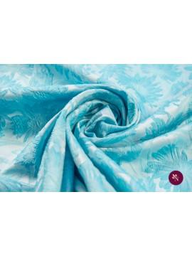 Brocart cu flori bleu gofrate