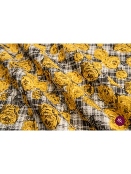 Brocart cu flori galbene gofrate