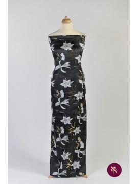 Brocart negru cu flori de crin gri