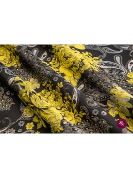 Brocart negru cu flori galbene