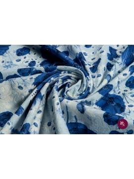 Jacquard imprimat bleu cu flori