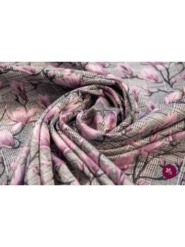 Jacquard cadrilat cu flori roz