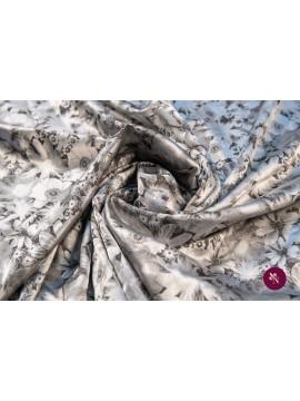 Jacquard gri-argintiu cu flori
