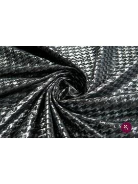 Jacquard houndstooth negru-argintiu