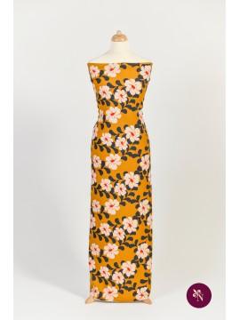 Jersey bumbac galben muștar cu flori