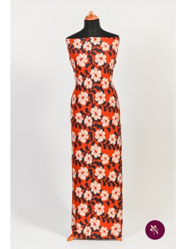 Jersey bumbac roșu orange cu flori