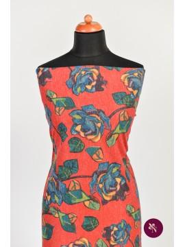 Jersey roșu cu trandafiri albaștri