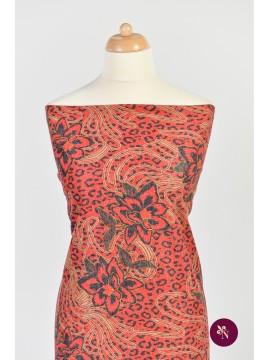 Jersey roșu tigrat cu flori de crin roșii
