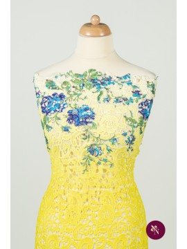 Macrame galben cu flori imprimat