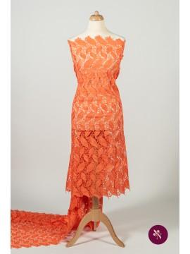 Macrame orange corai cu frunze