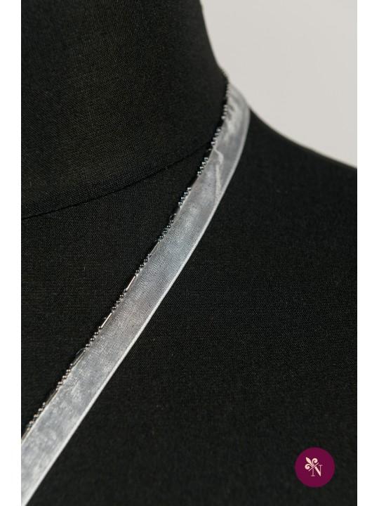 Bandă ivorie cu șirag gri metalic