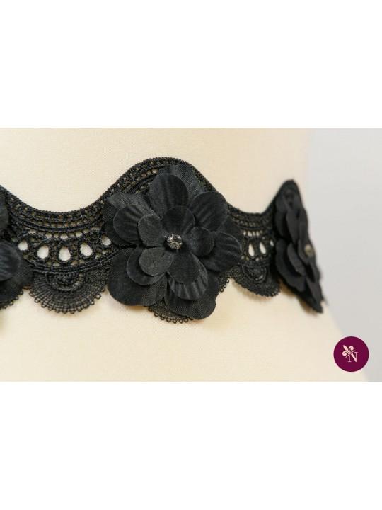 Bandă neagră dantelă cu flori 3D și strasuri
