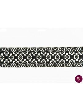 Bandă textilă tradițională alb-negru