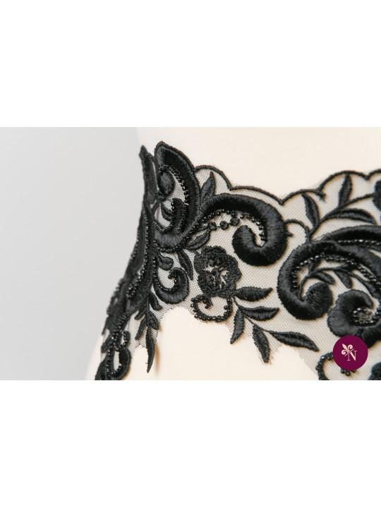Dantelă neagră ramuri și flori cu mărgeluțe