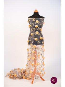 Organza imprimată cu flori 3D orange