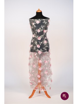 Organza imprimată cu flori 3D roz pal