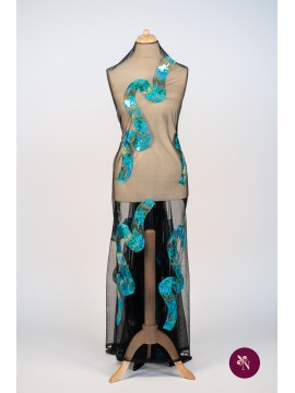 Broderie cu paiete turquoise