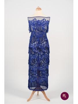Dantelă albastru safir cu franjuri și flori