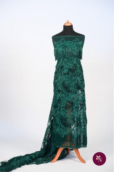 Dantelă verde smarald cu franjuri și flori