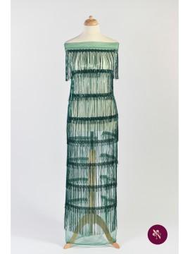 Dantelă verde imperial cu franjuri din paiete