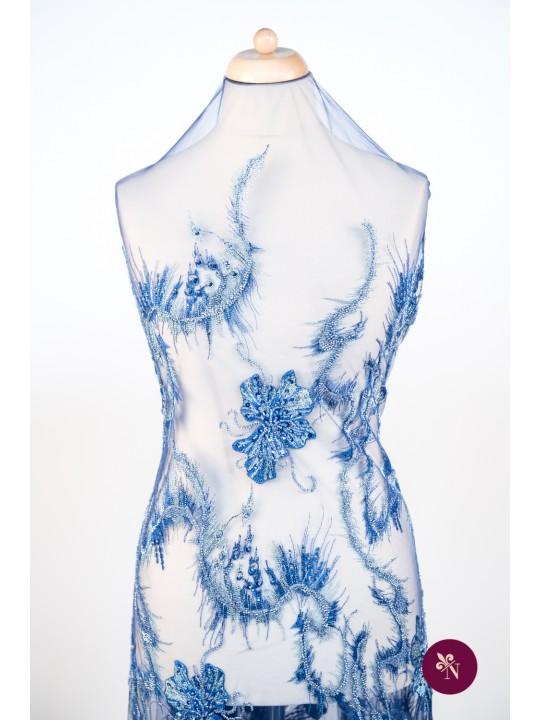 Dantelă albastră-argintie cu flori