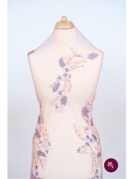 Dantelă roz lila cu flori 3D și strasuri
