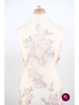 Dantelă roz piersică cu flori 3D și strasuri