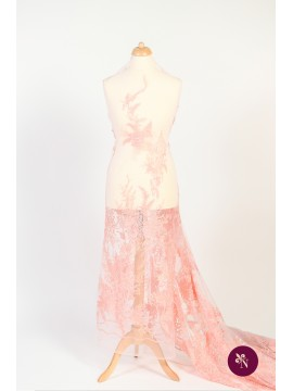 Dantelă roz piersică cu flori