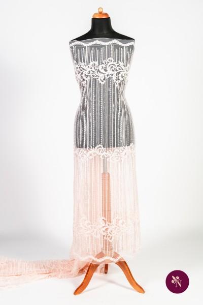Dantelă roz piersică cu mărgeluțe si paiete