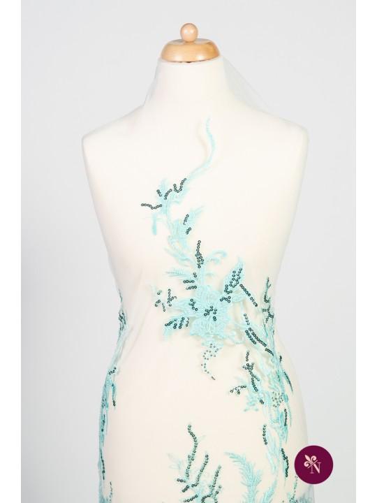 Dantelă turquoise cu flori