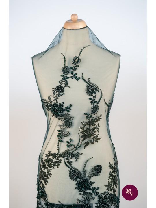 Dantelă verde pin cu flori accesorizată manual