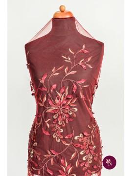 Broderie roșu burgundy cu frunze 3D