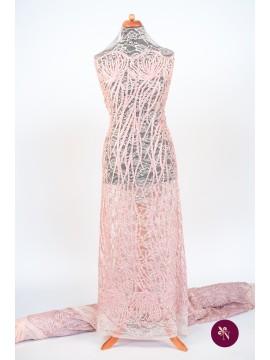 Dantelă elastică roz pal brodată