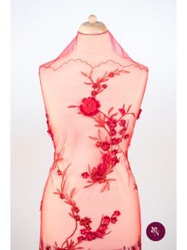 Dantelă roșie cu flori 3D și mărgele