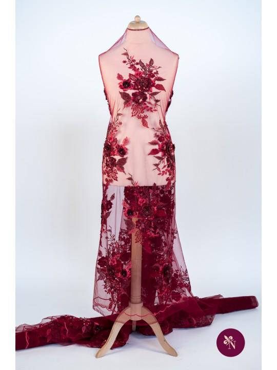Dantelă roșu bordo cu flori 3D