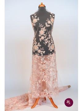 Dantelă roz piersică cu flori 3D