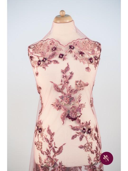 Dantelă roz plămâniu cu flori 3D și strasuri