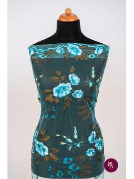 Broderie albastru turquoise cu trandafiri