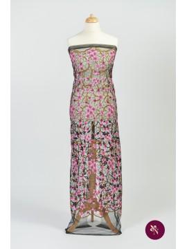 Dantelă cu flori roz lila