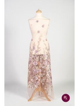 Dantelă cu flori roz-lila