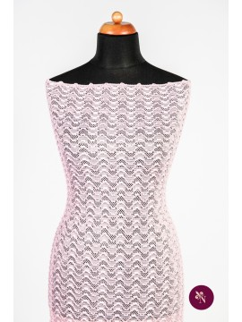 Dantelă elastică gofrată roz pal