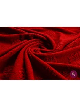Stofă lână roșie cu flori gofrate