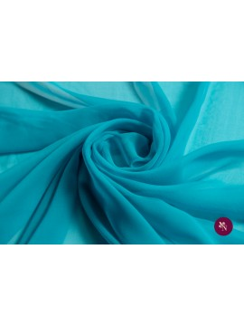 Voal Georgette albastru aqua mătase naturală