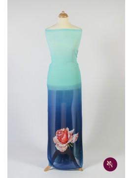 Voal albastru degrade cu trandafir
