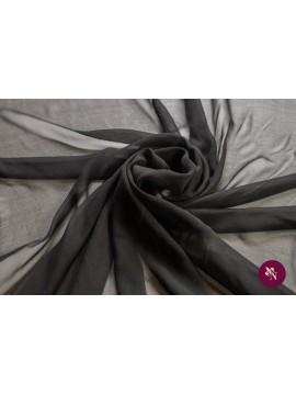 Voal Georgette negru mătase naturală