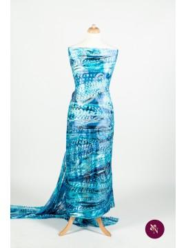 Voal mătase naturală bleu-albastru