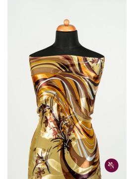 Voal mătase naturală multicolor cu flori maro