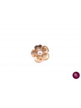 Broșă metal floare cu perlă