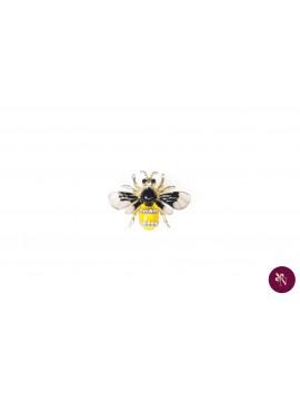 Broșă metal albină cu strasuri
